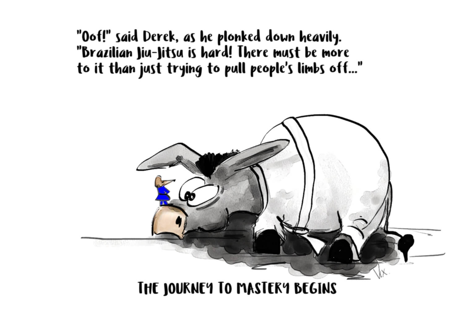 Derek the donkey thinks learning BJJ is hard