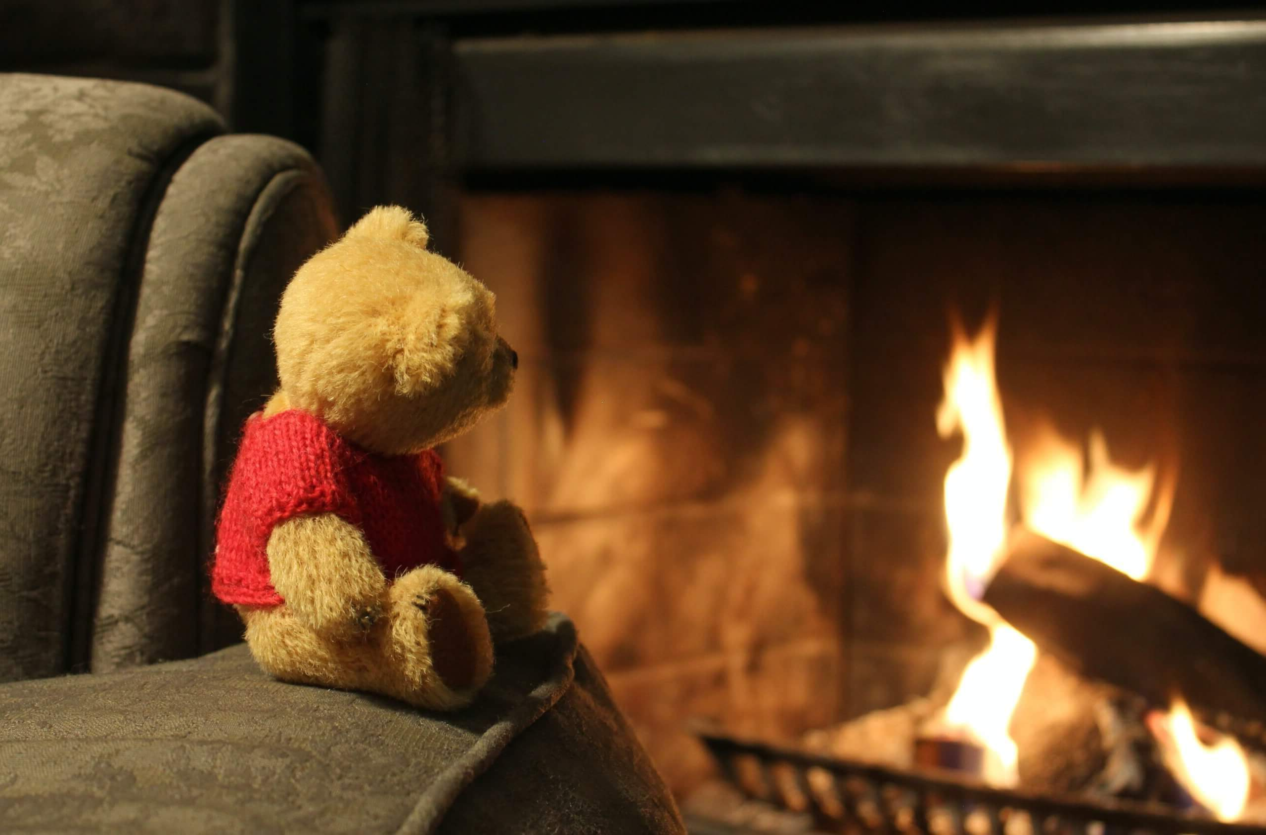 Teddy bear on chair by open fire